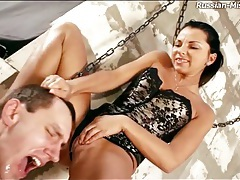 Collared man in dungeon spanked by mistress tubes