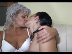 Cute brunette goes down on horny grandma tubes