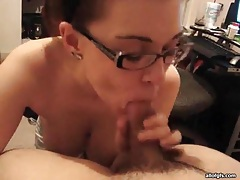 Sexy nerd sucks cock and teases her ass tubes