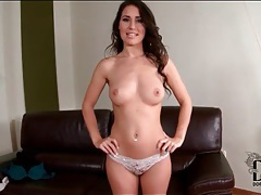 Brunette jiggles little tits and masturbates tubes