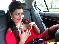 Latina dressed like a slut and riding in the car tubes