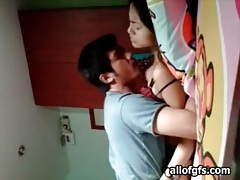 Kissing and licking his asian gf all over tubes