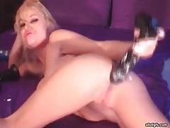 Thick black dildo fucks asshole on webcam tubes