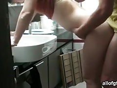 Slut bent over bathroom sink and fucked tubes