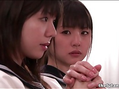 Cute asian schoolgirls fool around in church tubes