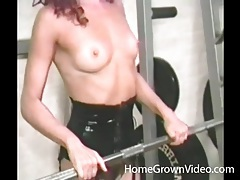 Masked redhead ass fucked in the gym tubes