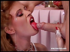 Red lipstick on pretty girl sucking hard dick tubes
