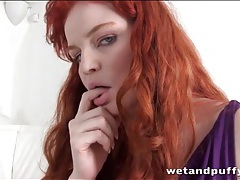 Milky white redhead in purple dress tubes