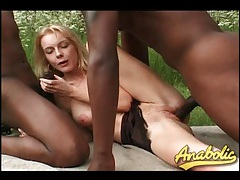 Skinny blonde fucked outdoors by black cocks tubes