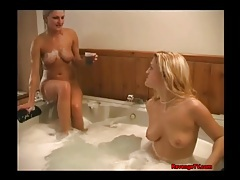 Cute girls kissing and eating pussy in hot tub tubes