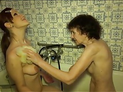 Wrinkled granny and tight teen take a bath tubes