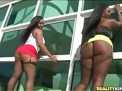 Big ass black girls in skirts and fishnets tubes