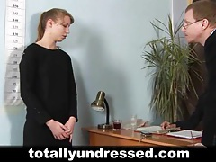Young secretary's job interview tubes
