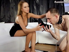 Sniffing shoes and licking feet of mistress tubes