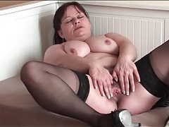 Old lady in stockings masturbates hairy pussy tube