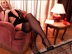 Super slutty dress on blonde in stockings tube