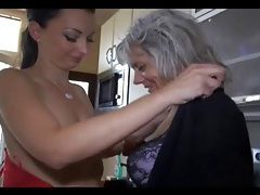 Old and young lesbian sex in kitchen tube