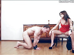 Red leather looks hot on dominant girl tubes