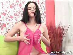 Busty brunette hottie in pink lingerie tubes