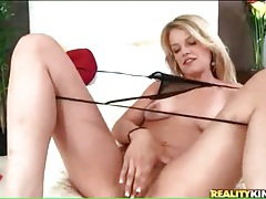 Missy lynn strips from cute dress for licking tubes