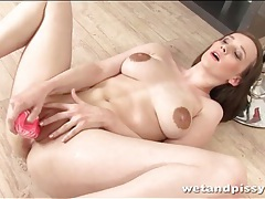 Huge nipples girl masturbates and pisses tubes