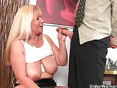 Slutty grandma sucks cock and gets a mouth full of cum tube