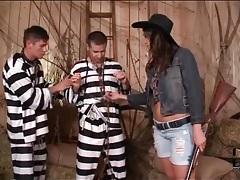 Cowgirl sucks big cocks of two prisoners tubes