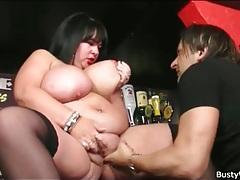 Fat slut fingered in the bar tubes