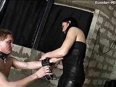 Dominatrix takes pleasure in abusing his cock tubes