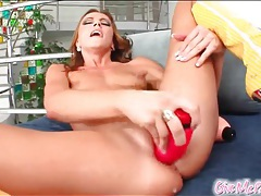 Leggy chick with bald pussy fucks a toy tubes