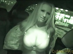 Nikita valentin models big tits in the car tubes