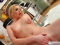 Creampie cumshot leaks out of slutty blonde tubes