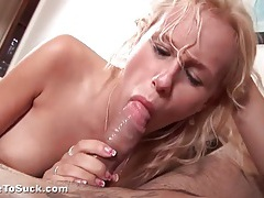 Blonde cocksucker lets him cum on her pussy tubes