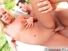 Blonde strips outdoors and has anal creampie tubes