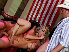 They take turns on her ass and pussy until they both blow big loads into hot dick-suckin' mouth. tubes