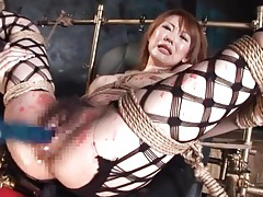 Fishnets and bondage on hot wax girl tubes