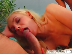 Slender chick in anal threesome takes facials tubes