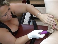 Bound bbw takes fingering and clothes pins play tubes