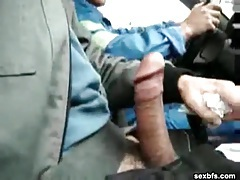 Masturbating in the car as they drive around tubes