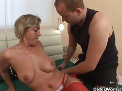 Lustful granny sucks cock and gets fucked tubes