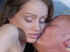 Teeny blonde sucking old prick for cum tubes