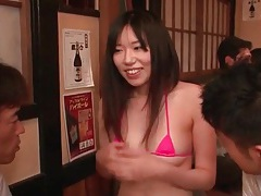 Kita minami models tiny bikini in restaurant tubes