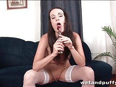 Glass dildo gives pleasure to pussy close up tubes