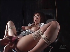 Moaning bound japanese girl in stockings tubes
