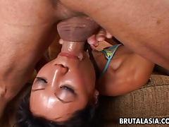 Enchanting asian babe gets her pussy boned hard tubes