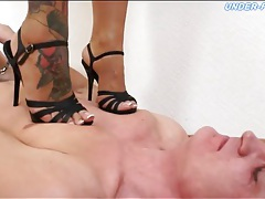 Spike heels trample him to make him hurt tubes