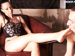 Licking and sucking beautiful feet of mistress tubes