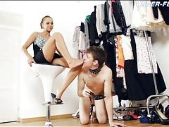 Slave boy licks heels and feet of sexy girl tubes