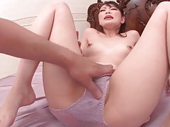 Clit rubbing makes japanese pussy squirt tubes