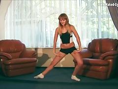Skintight workout clothes on flexible teen tubes